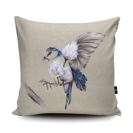 Rustic Bird Flight Print vegan faux suede cushion with a Fibre Inner by Kat Baxter